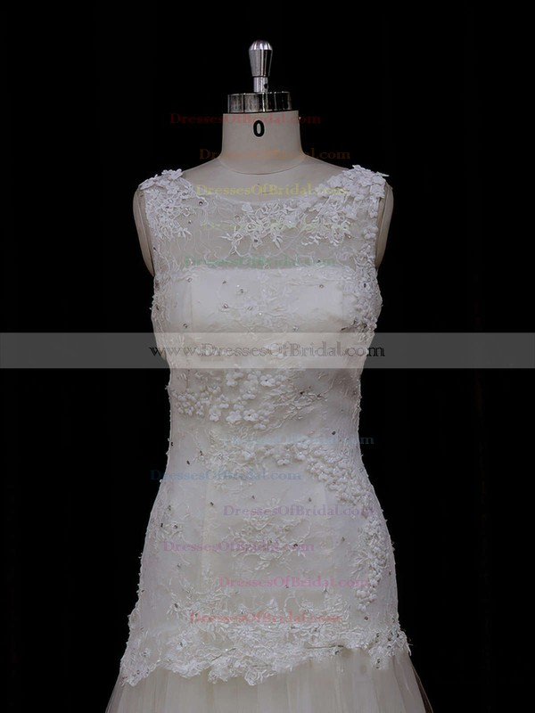 Trumpet/Mermaid Sweep Train Ivory Tulle Appliques Lace Top Wedding Dresses #DOB00021924