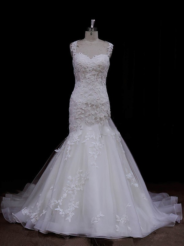 Inexpensive Ivory Satin Tulle Appliques Lace Trumpet/Mermaid Sweetheart Wedding Dresses #DOB00021935
