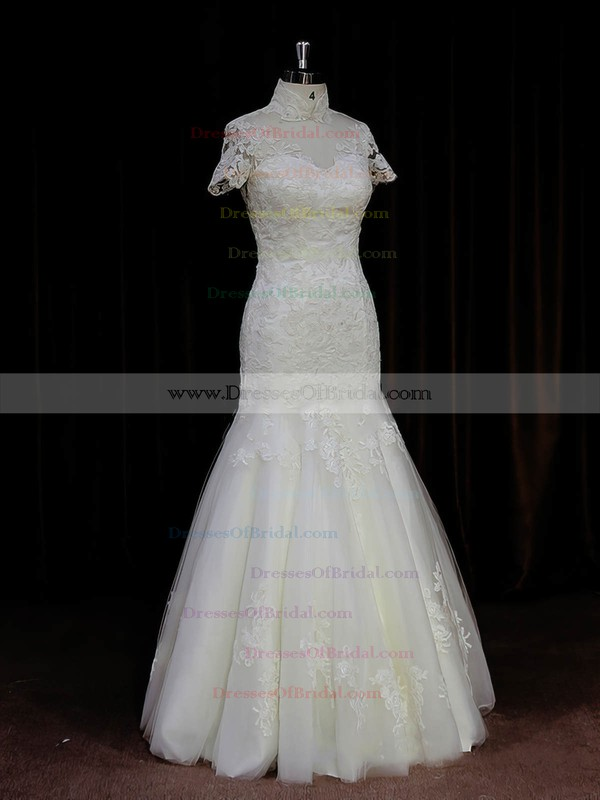 Trumpet/Mermaid Tulle Appliques Lace High Neck Ivory Different Wedding Dresses #DOB00021939