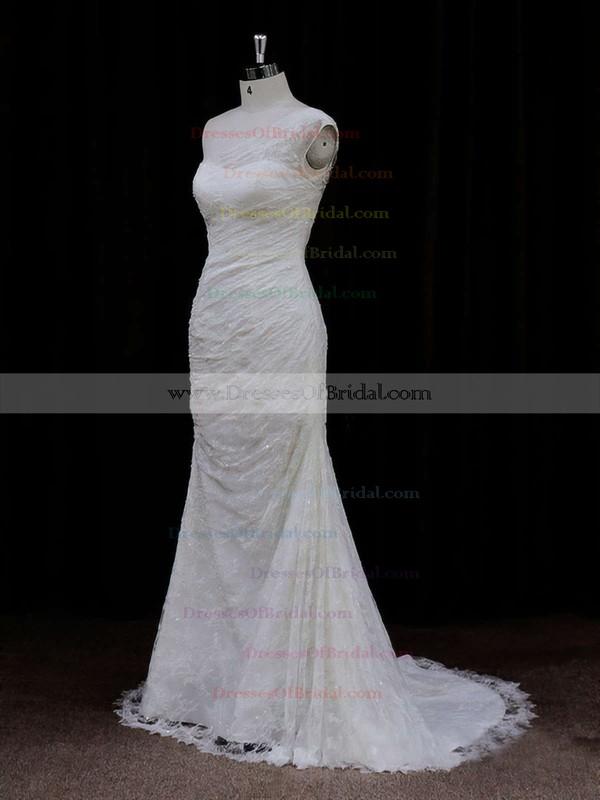 Pretty Ivory Lace Sequins One Shoulder Trumpet/Mermaid Wedding Dresses #DOB00021940