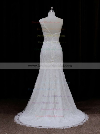 Pretty Ivory Lace Sequins One Shoulder Trumpet/Mermaid Wedding Dresses #DOB00021940