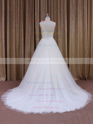One Shoulder Sashes/Ribbons White Tulle Ball Gown Wedding Dress #DOB00021956