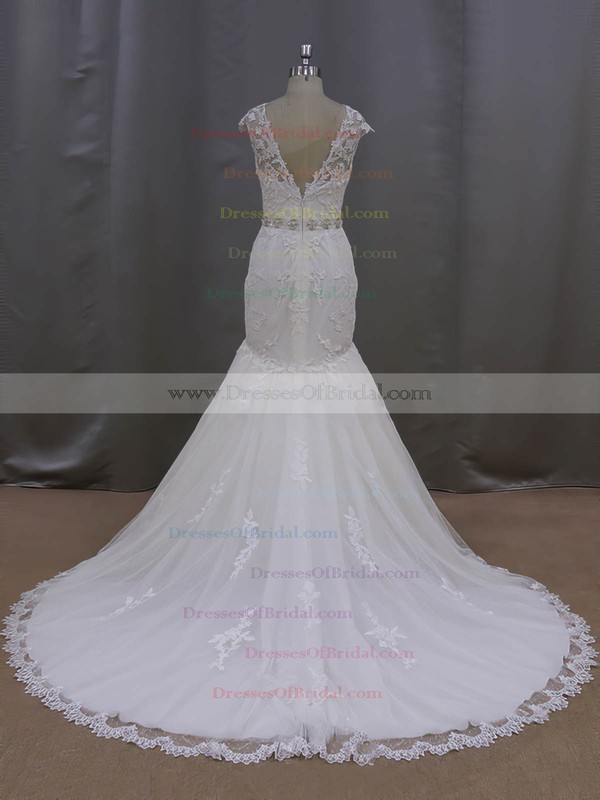 Scoop Neck Appliques Lace Trumpet/Mermaid Cap Straps Ivory Tulle Wedding Dress #DOB00021962