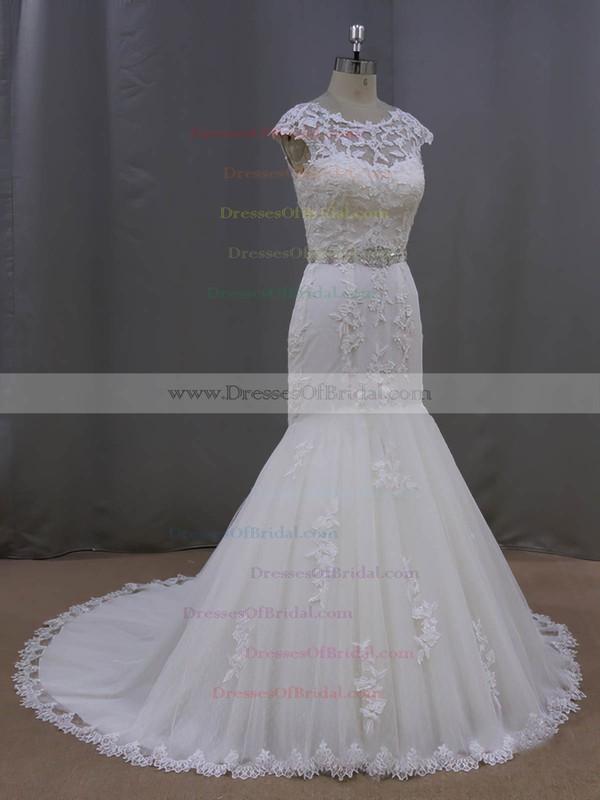 Scoop Neck Appliques Lace Trumpet/Mermaid Cap Straps Ivory Tulle Wedding Dress #DOB00021962