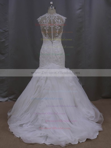 Discount Trumpet/Mermaid Appliques Lace Ivory Tulle Sweetheart Wedding Dress #DOB00021993