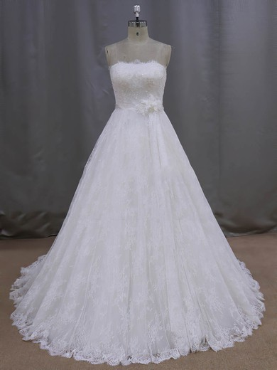 Ladies Ivory Strapless Sashes/Ribbons Court Train Lace Wedding Dresses #DOB00021997