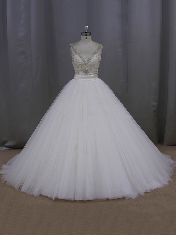 Sparkly Ball Gown Ivory Tulle Beading V-neck Backless Wedding Dress #DOB00021998