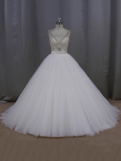 Sparkly Ball Gown Ivory Tulle Beading V-neck Backless Wedding Dress #DOB00021998