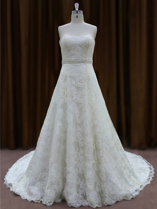 Designer Ivory Lace with Beading Sweetheart Chapel Train Wedding Dress #DOB00022002