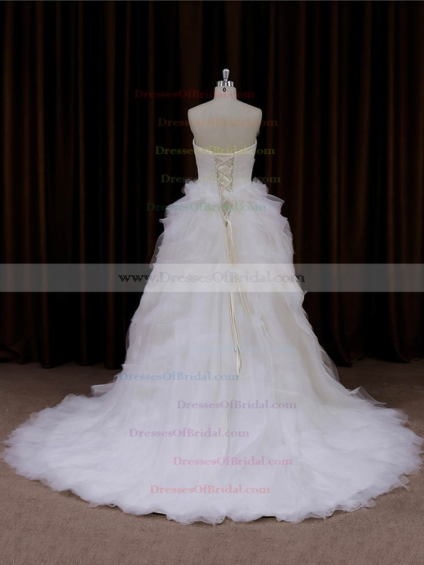 Princess Tulle Cascading Ruffles Ivory Sweetheart Unique Wedding Dresses #DOB00022003