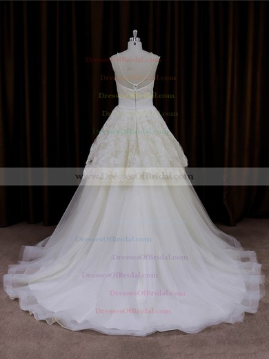 Best Scoop Neck Ivory Lace Tulle with Beading Princess Wedding Dress #DOB00022004