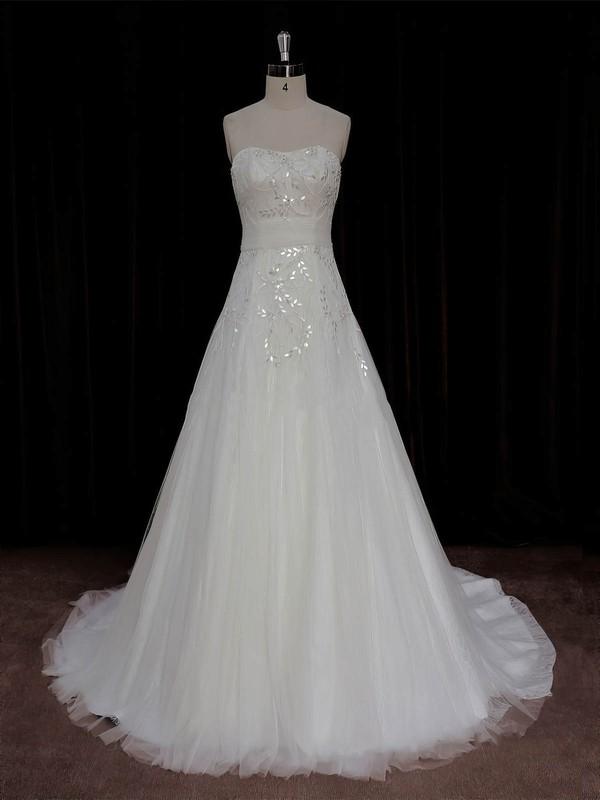 A-line Ivory Lace Tulle Crystal Detailing Court Train Elegant Wedding Dress #DOB00022006