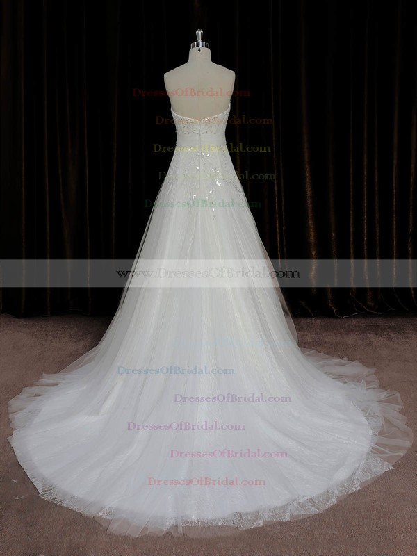 A-line Ivory Lace Tulle Crystal Detailing Court Train Elegant Wedding Dress #DOB00022006