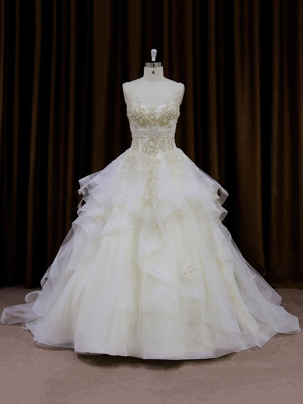 Modern Ivory Organza Appliques Lace Princess V-neck Wedding Dresses #DOB00022009