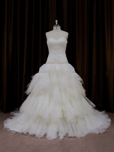Princess Tiered Tulle Different Chapel Train Lace-up Ivory Wedding Dresses #DOB00022011