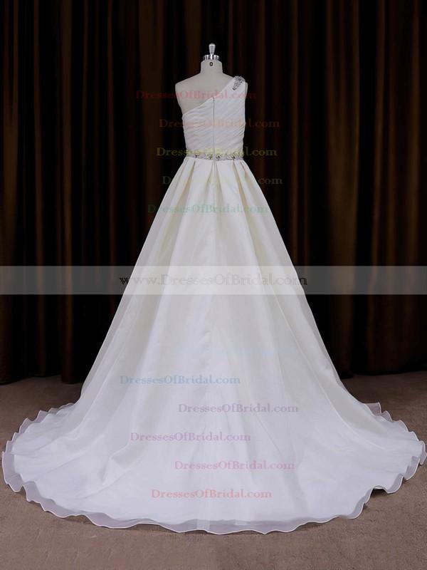 Popular Ivory Organza Sweep Train Beading One Shoulder Wedding Dress #DOB00022012