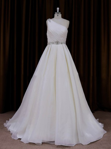 Popular Ivory Organza Sweep Train Beading One Shoulder Wedding Dress #DOB00022012