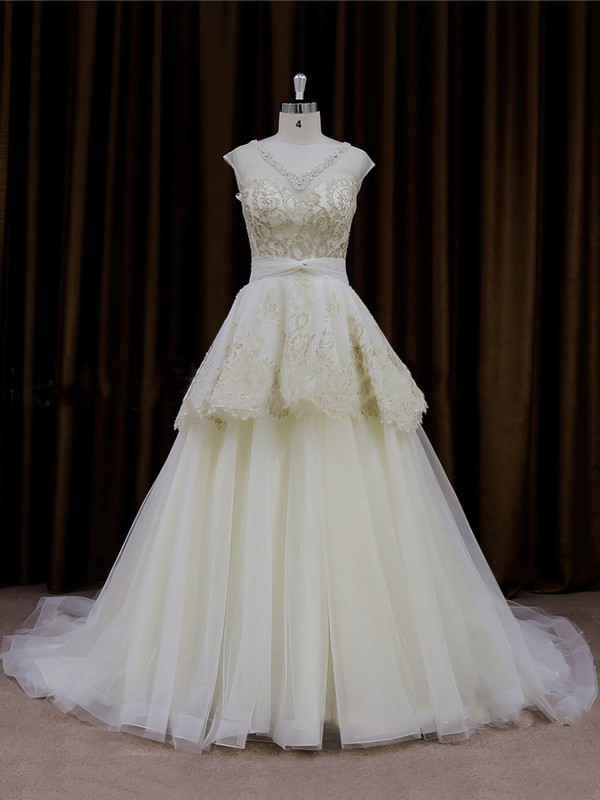 Ivory Tulle V-neck Princess Appliques Lace Wholesale Wedding Dresses #DOB00022013