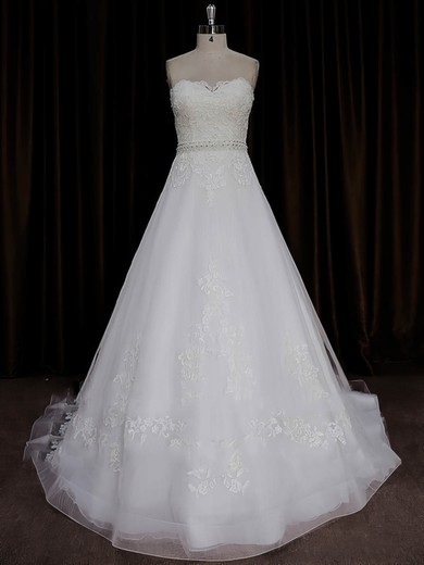 Inexpensive A-line Tulle Appliques Lace Sweetheart Ivory Wedding Dresses #DOB00022015