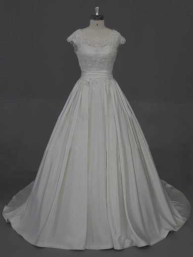 Scoop Neck Taffeta Appliques Lace Ivory Court Train For Cheap Wedding Dress #DOB00022016