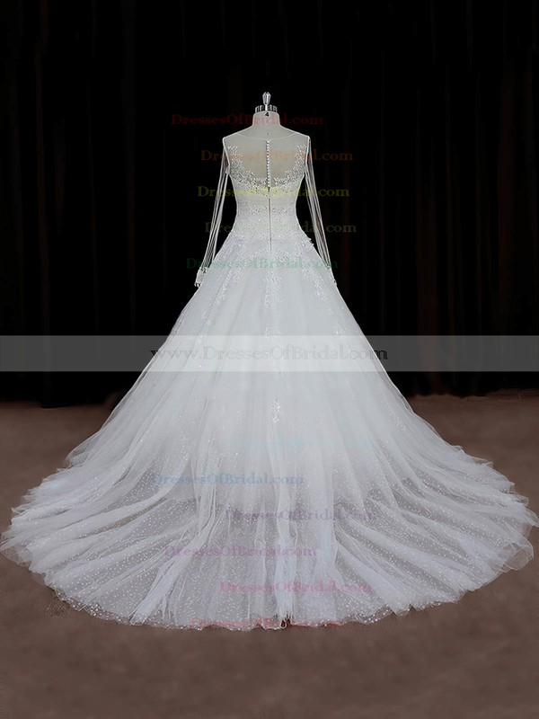 Latest Tulle Appliques Lace Ivory Chapel Train Long Sleeve Wedding Dresses #DOB00022018