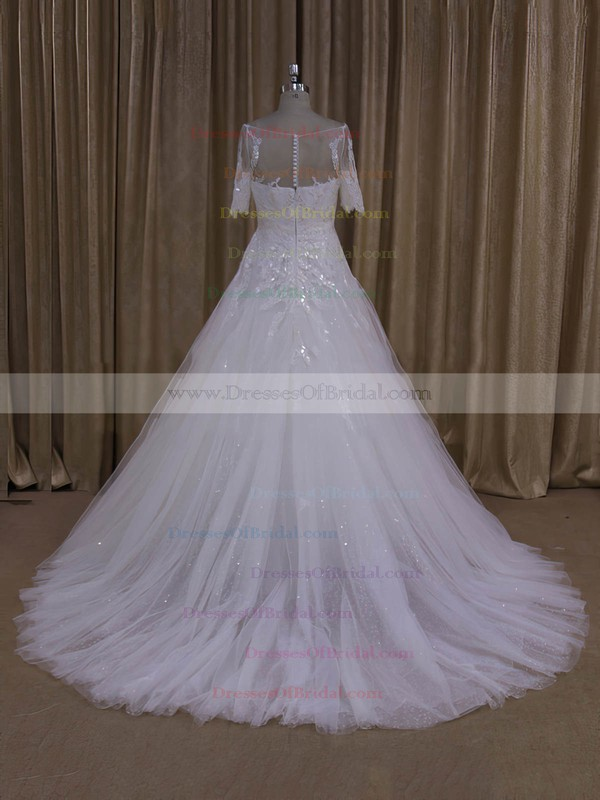 Exclusive Ivory Tulle Scoop Neck Appliques Lace 1/2 Sleeve Wedding Dresses #DOB00022019