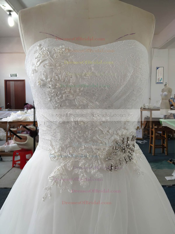 Sweetheart Tulle Court Train Appliques Lace White Original Wedding Dress #DOB00022020