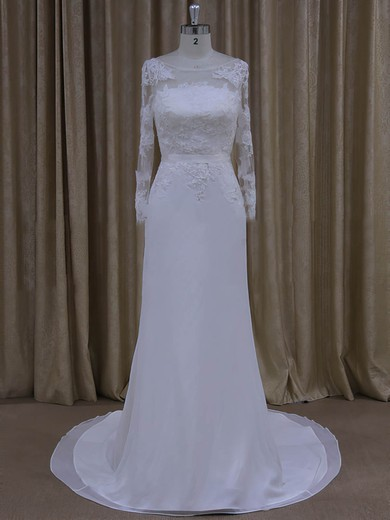 Scoop Neck Sheath/Column White Chiffon Appliques Lace Long Sleeve Wedding Dresses #DOB00022022