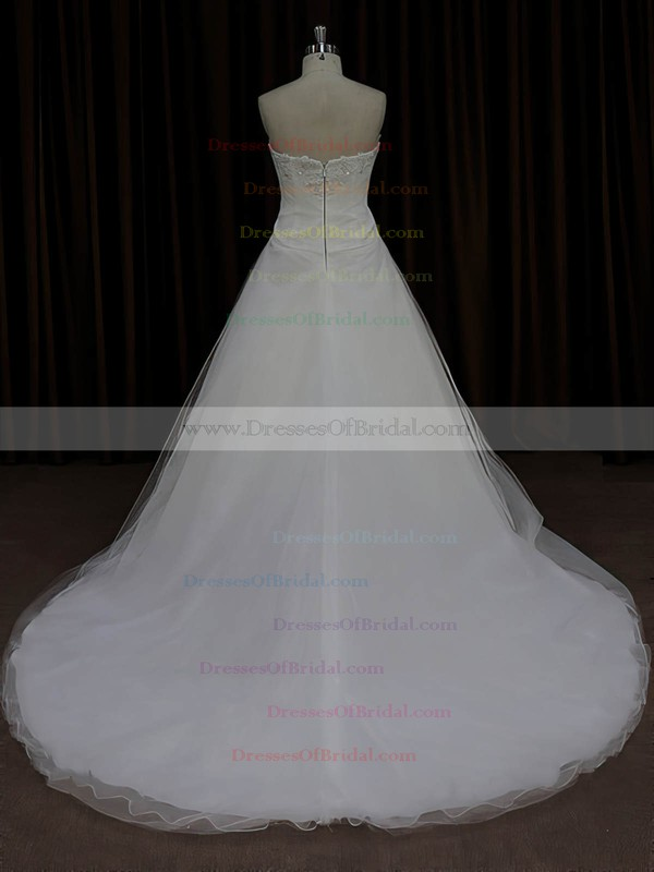 Modest Tulle Appliques Lace Sweetheart Court Train Ivory Wedding Dress #DOB00022023