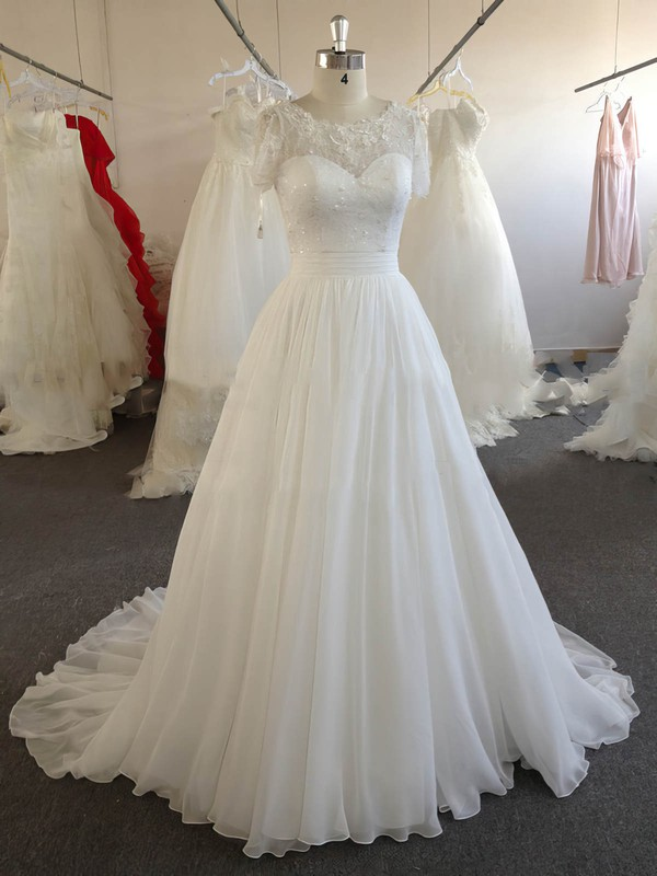 Ivory Chiffon Lace with Beading Scoop Neck Online Short Sleeve Wedding Dresses #DOB00022024