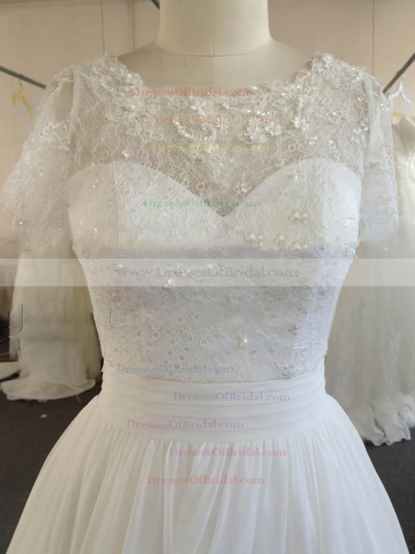 Ivory Chiffon Lace with Beading Scoop Neck Online Short Sleeve Wedding Dresses #DOB00022024