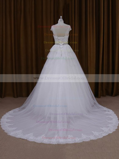 White Lace Tulle with Beading Court Train Cap Straps Designer Wedding Dresses #DOB00022025