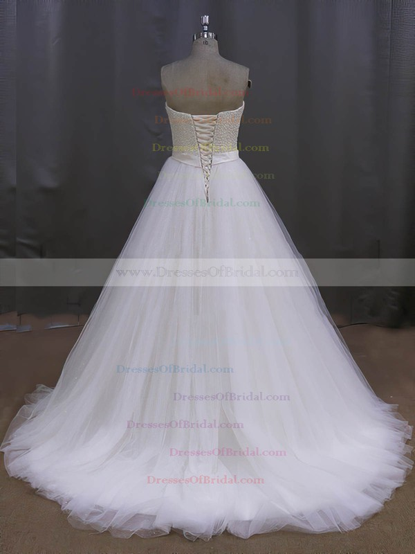 Elegant Tulle Sweetheart Pearl Detailing Sweep Train Ivory Wedding Dress #DOB00022026
