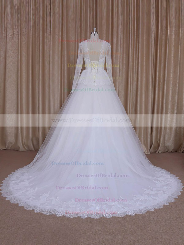 V-neck Court Train Beautiful Ivory Lace Tulle Long Sleeve Wedding Dresses #DOB00022027