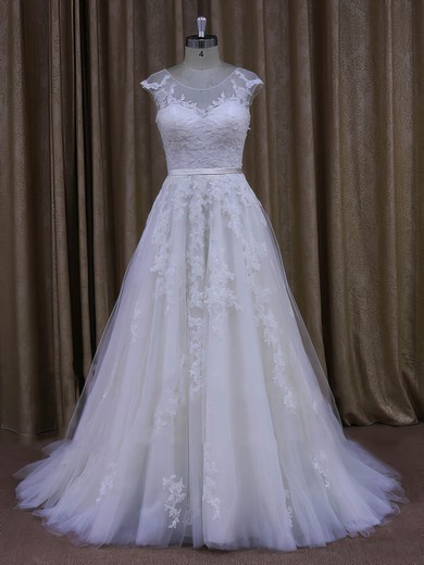 Modern Sweep Train Tulle Appliques Lace Scoop Neck Ivory Wedding Dresses #DOB00022028