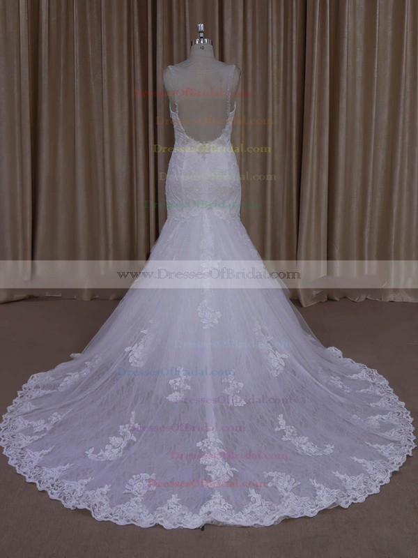 Hot Trumpet/Mermaid Tulle Appliques Lace Ivory V-neck Wedding Dress #DOB00022030