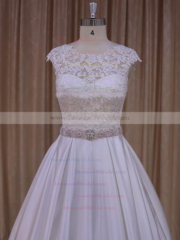 Ivory Satin Scoop Neck Sweep Train Sashes/Ribbons Amazing Wedding Dresses #DOB00022031