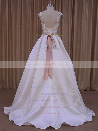 Ivory Satin Scoop Neck Sweep Train Sashes/Ribbons Amazing Wedding Dresses #DOB00022031