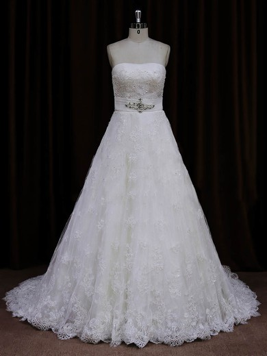 Affordable Ivory Strapless Lace Sashes/Ribbons A-line Wedding Dresses #DOB00022032