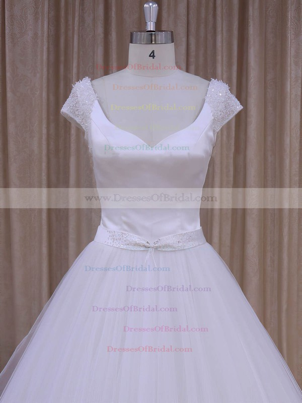 V-neck Open Back White Lace-up Satin Tulle Beading Short Sleeve Wedding Dresses #DOB00022033