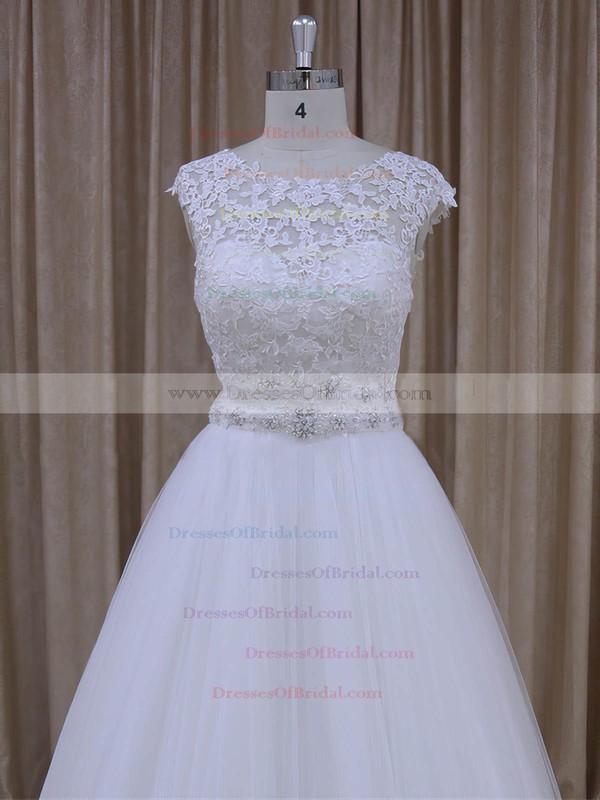 Lace-up Open Back Tulle Appliques Lace Cap Straps Scoop Neck Wedding Dresses #DOB00022036