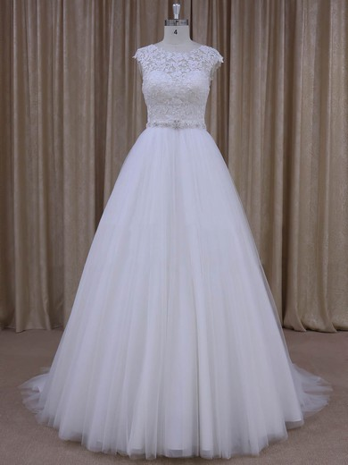Lace-up Open Back Tulle Appliques Lace Cap Straps Scoop Neck Wedding Dresses #DOB00022036
