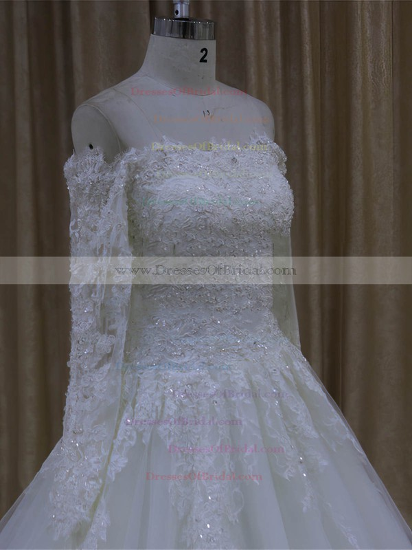 Best Long Sleeve Ivory Tulle with Appliques Lace Off-the-shoulder Wedding Dresses #DOB00022037