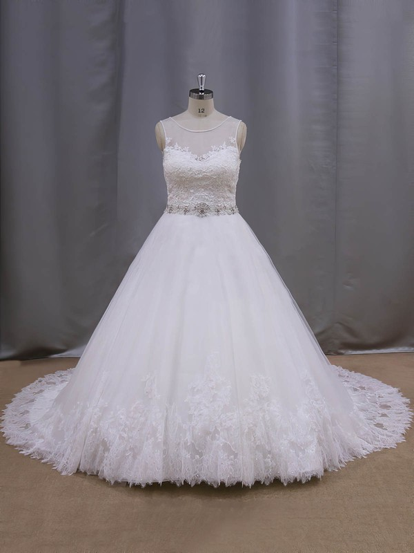 Ball Gown Cheap Tulle Appliques Lace Covered Button Scoop Neck Ivory Wedding Dresses #DOB00022038