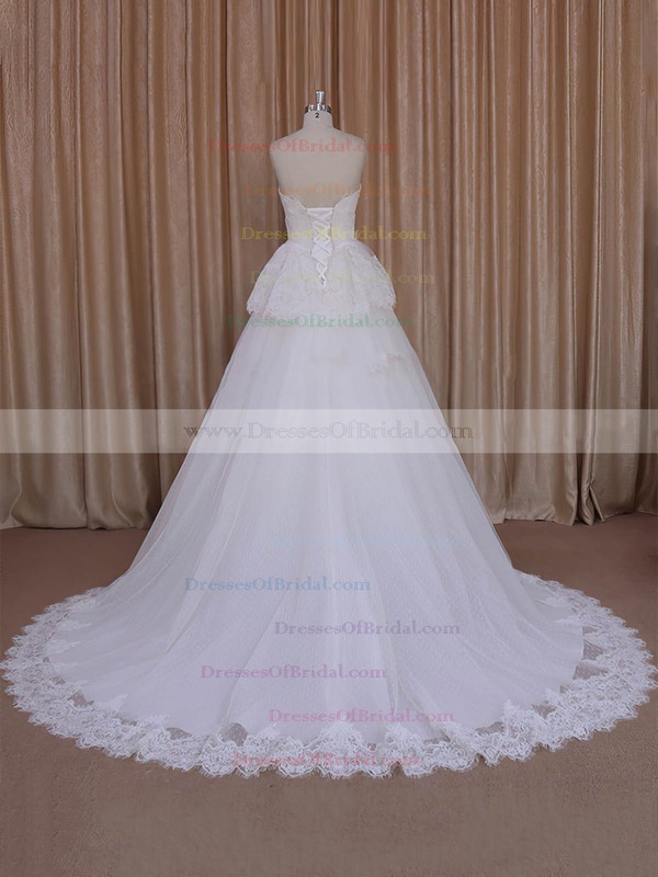 Court Train Ivory Lace Tulle Sashes/Ribbons Custom Princess Wedding Dresses #DOB00022039