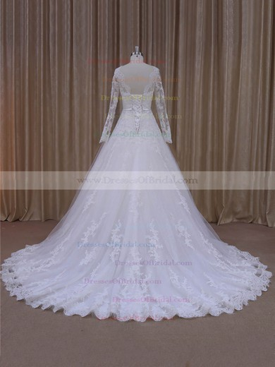 Designer Scalloped Neck Tulle Appliques Lace Court Train Ivory Wedding Dresses #DOB00022040