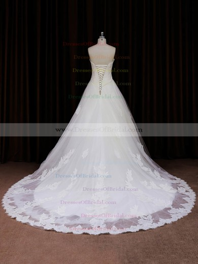 Princess Ivory Tulle Appliques Lace Different Sweetheart Wedding Dresses #DOB00022041