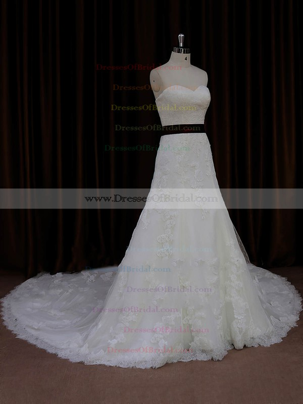Cathedral Train Ivory Lace Tulle Sashes/Ribbons Lace-up Sweetheart Wedding Dresses #DOB00022042