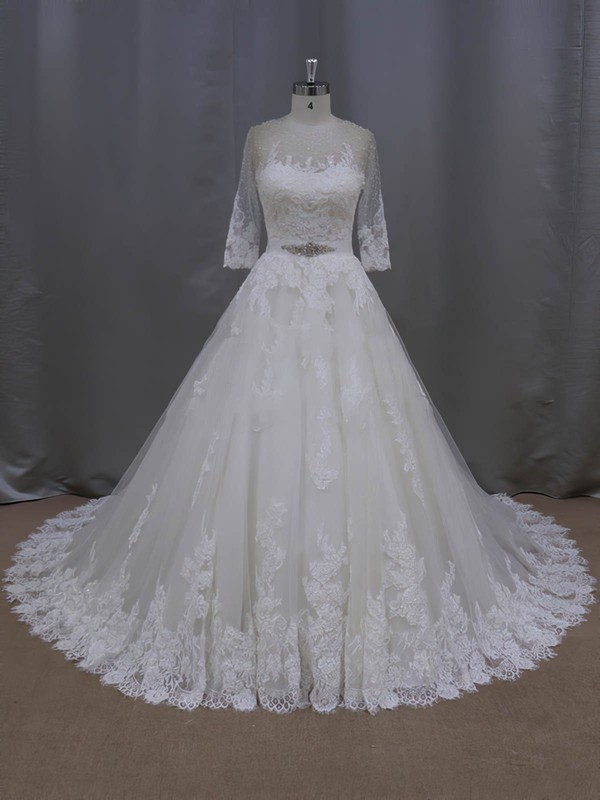 Ivory Scoop Neck Tulle with Appliques Lace 3/4 Sleeve Ball Gown Wedding Dresses #DOB00022043