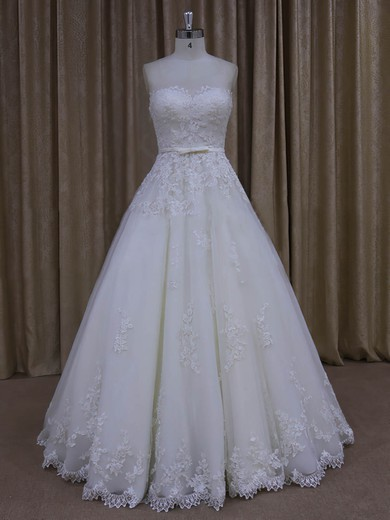 Floor-length Tulle Appliques Lace Ivory Lace-up Sweetheart Wedding Dresses #DOB00022045